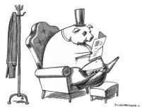 RPR Pig reading newspaper