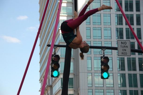 Acrobat on Fayetteville Street