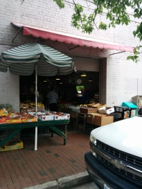 Entrance in City Market Produce shop